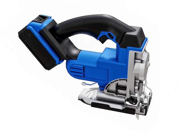 A ferramenta é um quebra-cabeça elétrico azul sobre um fundo branco e isolado. renderização 3d.