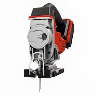 A ferramenta é um quebra-cabeça elétrico vermelho sobre um fundo branco e isolado. renderização 3d.