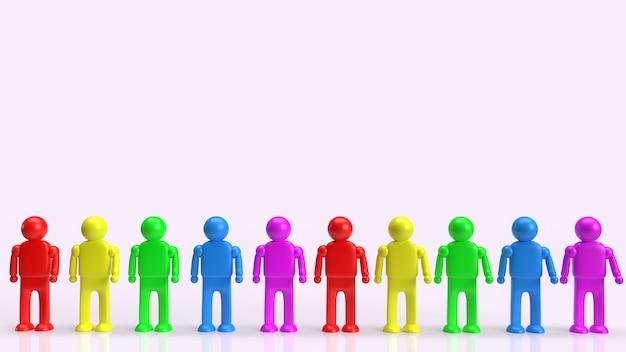 A figura humana multicolor para renderização em 3d do conceito lgbt