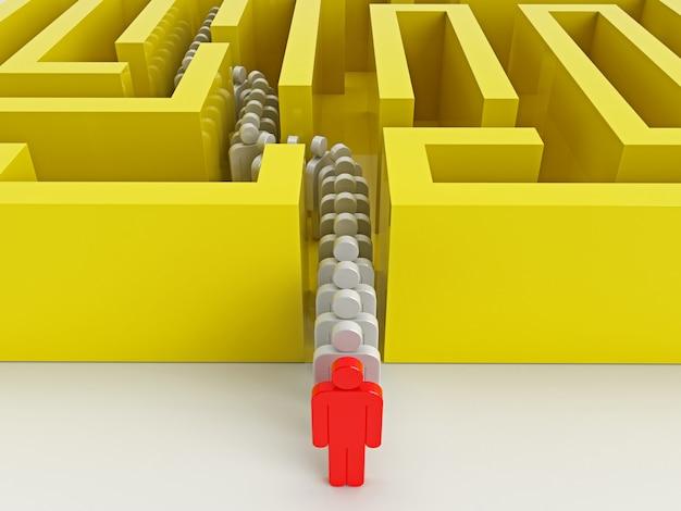 A fila de pessoas saindo do labirinto.
