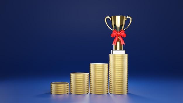 A fileira de moedas de ouro empilhadas para chegar ao troféu no topo