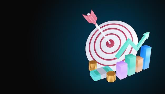 A flecha atingiu o centro do alvo. ilustração de conceito de realização de meta de negócios.