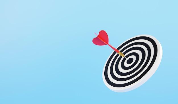 A flecha de dardo atingindo o centro no alvo de dardos é o objetivo do desafio de renderização 3d