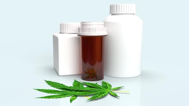 A folha de maconha e o frasco de remédio para renderização em 3d de conteúdo médico.