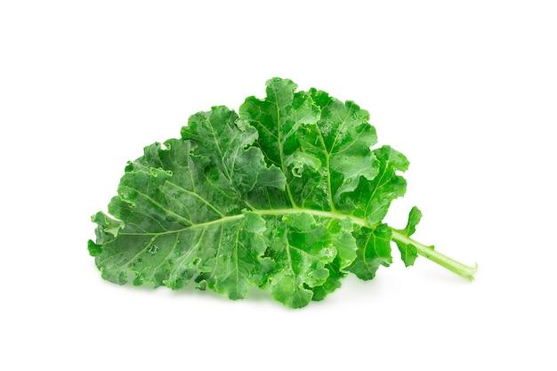 A folha verde orgânica crua fresca da couve no fundo isolado branco com trajeto de grampeamento.