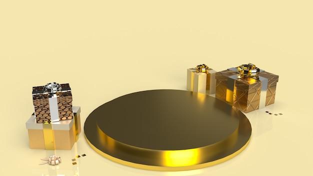 A forma de pódio de geometria dourada para exibir produto e caixa de presente para o conceito atual de renderização em 3d