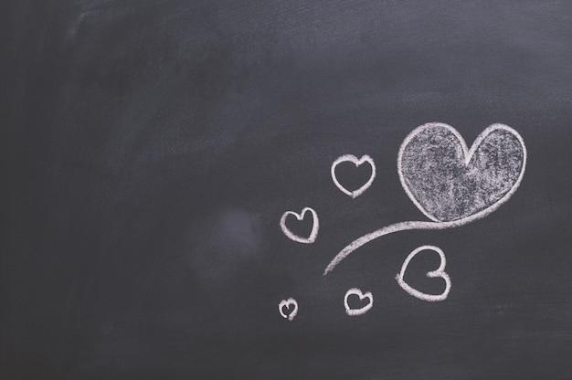 A forma do coração na lousa