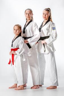 A foto de estúdio de um grupo de mulheres posando como esportistas de artes marciais de caratê