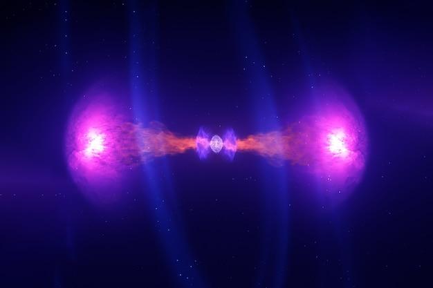 A fusão de duas estrelas de nêutrons. os elementos desta imagem foram fornecidos pela nasa para qualquer finalidade