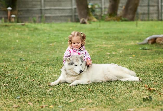 A garotinha brincando com cachorro contra grama verde no parque