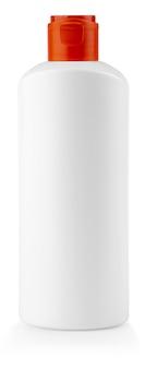 A garrafa de plástico branca com tampa vermelha em fundo branco