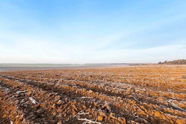 A geada da terra arada fotografada close de um campo agrícola arado a terra está coberta com o céu azul geada branca