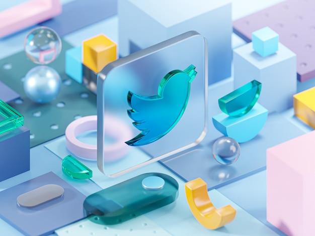 A geometria do vidro do twitter molda a arte da composição abstrata renderização em 3d