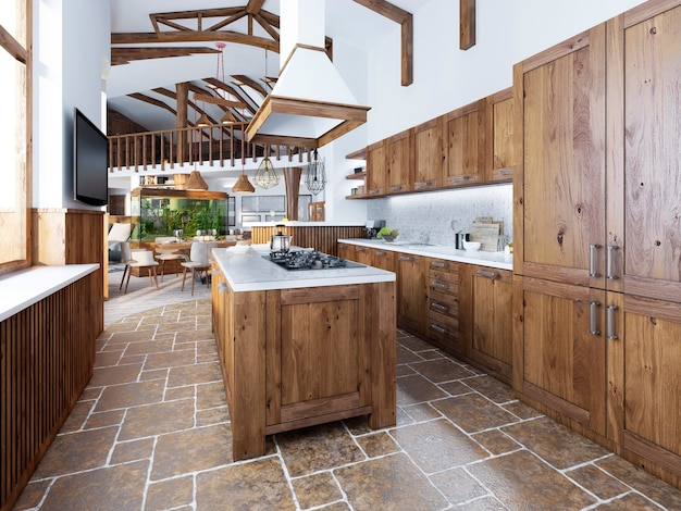 A grande cozinha em estilo loft com uma ilha no meio e móveis de madeira