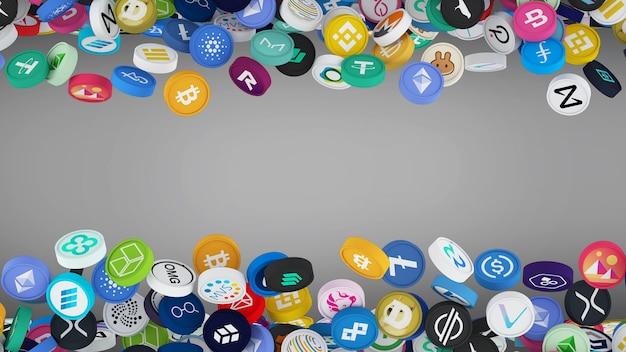 A ideia de colocar uma moeda multicolorida criptomoeda em fundo cinza ilustração 3d