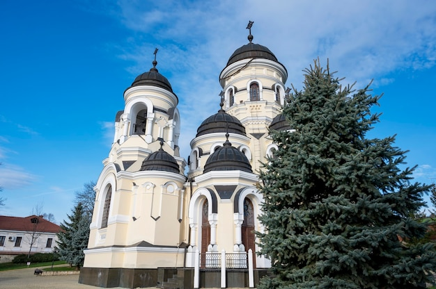 A igreja de inverno e pátio interno do mosteiro de capriana. abetos, árvores nuas, bom tempo na moldávia