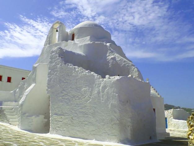 A, igreja, de, panagia, paraportiani, em, mykonos, cidade, mykonos, ilha, grécia