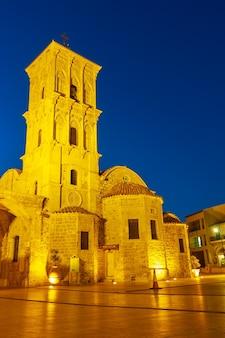 A igreja de são lázaro (agios lazaros) em larnaca à noite, chipre