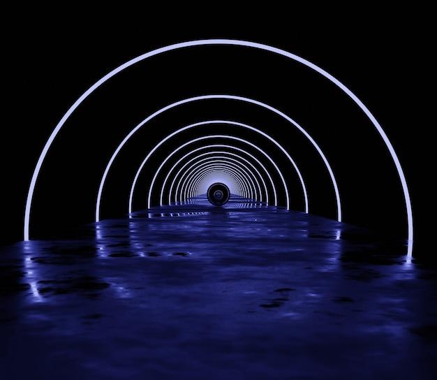 A ilustração 3d abstrata renderiza a luz neon moderna