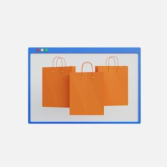 A ilustração 3d exibe três sacolas de compras para compras online em fundo branco