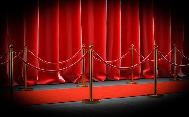 A imagem 3d rende de um boné vermelho com barreiras de veludo e cabos e cortinas.