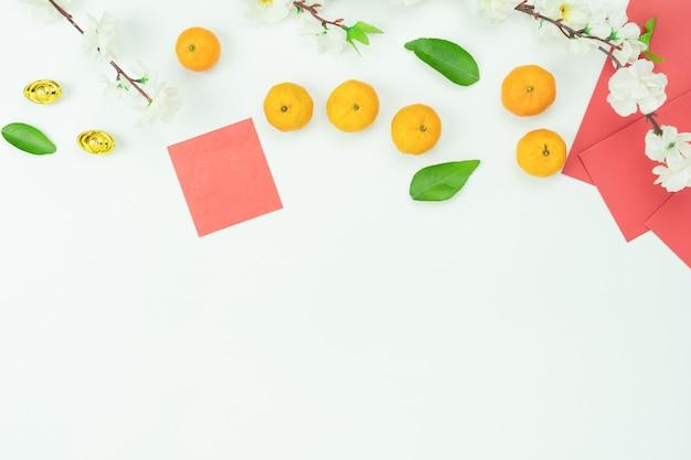 A imagem aérea da vista superior disparou do ano novo chinês da decoração do arranjo.