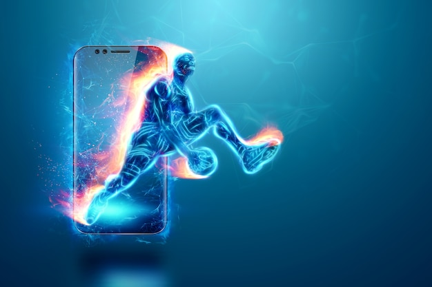 A imagem de fogo de um jogador de basquete é cortada de seu smartphone. colagem criativa, aplicativo de esportes. conceito de loja online, aplicação online, apostas desportivas, ilustração 3d, renderização 3d
