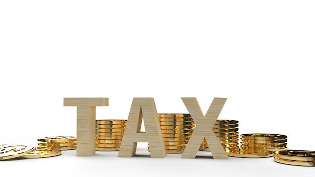 A imagem de madeira da rendição 3d do imposto e da moeda para o conteúdo do negócio.