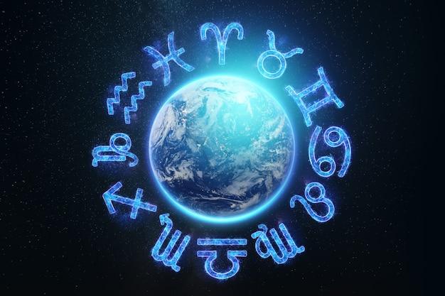 A imagem dos signos do zodíaco no fundo do planeta terra