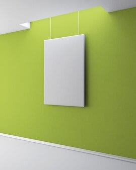 A imagem em branco na parede de gesso verde