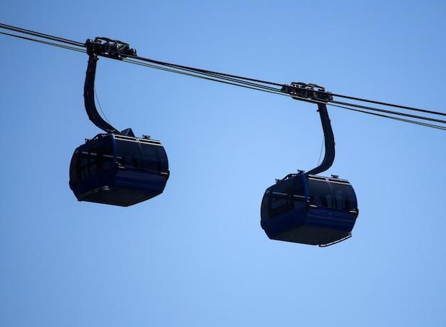 A imagem mostra um teleférico moderno com duas cabines indo em direções diferentes