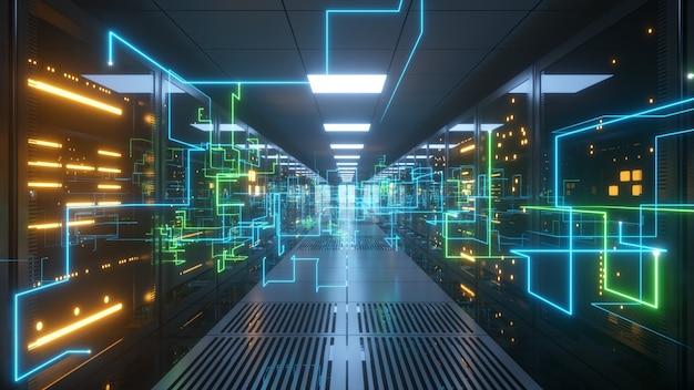 A informação digital viaja através de cabos de fibra ótica através da rede e dos servidores de dados atrás de painéis de vidro na sala do servidor do data center.