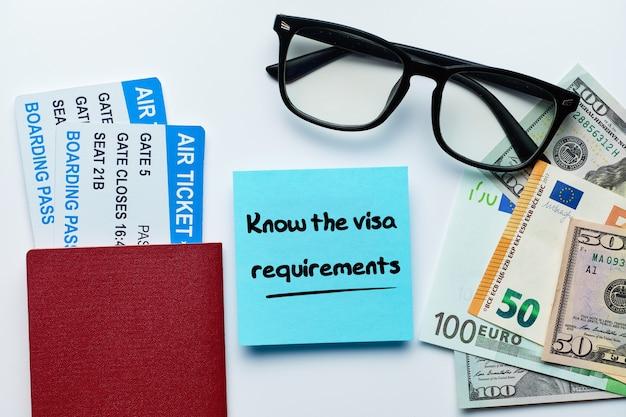 A inscrição conhece os requisitos de visto na etiqueta com passaporte.