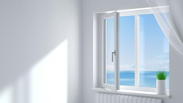 A janela plástica moderna branca aberta na sala.