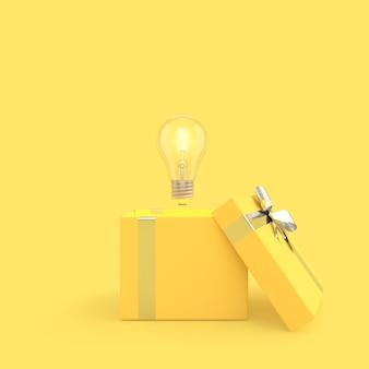 A lâmpada saiu da cor amarela da caixa de presente