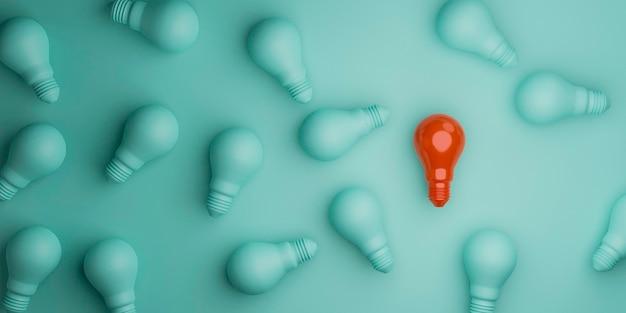 A lâmpada vermelha separa a lâmpada azul da multidão da rom para a ideia de pensamento diferente e o conceito de liderança por renderização em 3d.