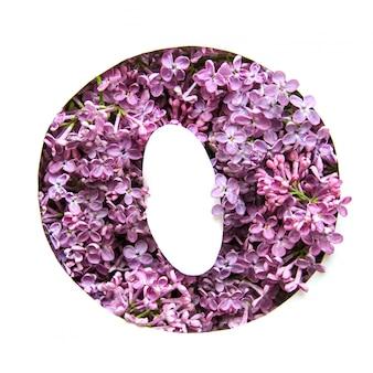 A letra o do alfabeto inglês de lilás