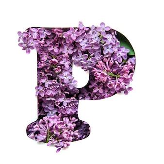 A letra p do alfabeto inglês de lilás