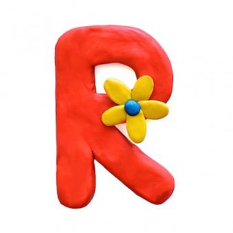 A letra r do alfabeto inglês de plasticina