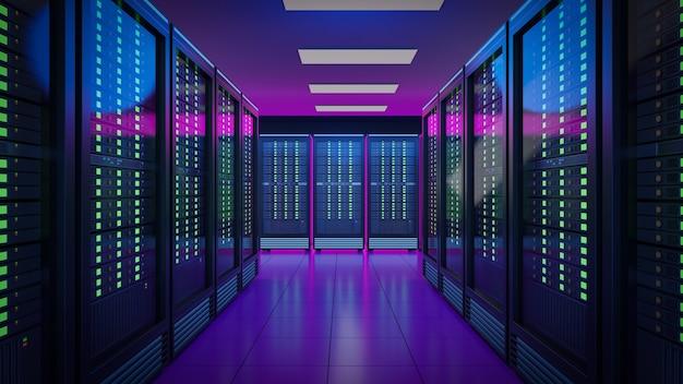 A linha de contêiner de racks de servidor de hospedagem com luz rosa azul. 3d rendem a imagem da ilustração.