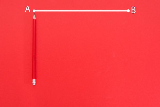 A linha do ponto a ao ponto b é desenhada em branco sobre um fundo vermelho com lápis vermelho e espaço de cópia.
