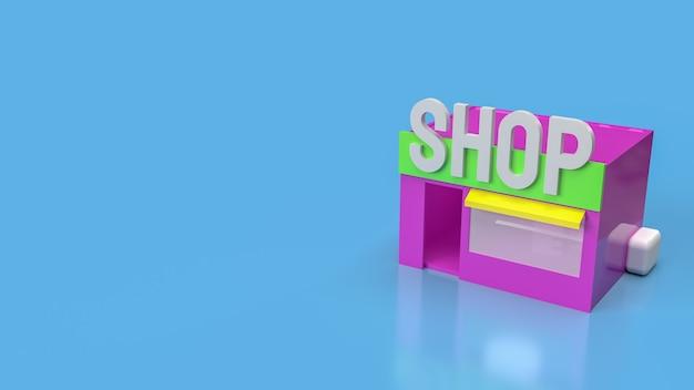 A loja em fundo azul para renderização 3d de conceito de negócio