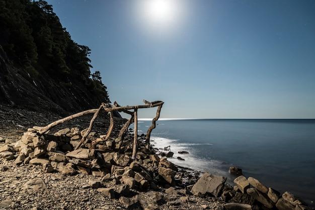A lua ilumina a beira-mar e a construção de galhos.