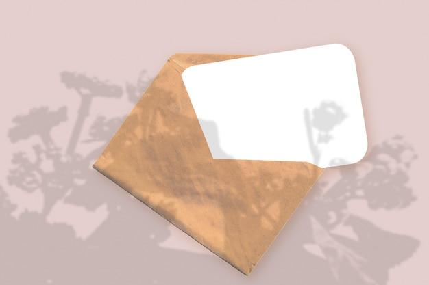 A luz natural projeta sombras da planta em um envelope com uma folha de papel branco sobre um fundo rosa texturizado