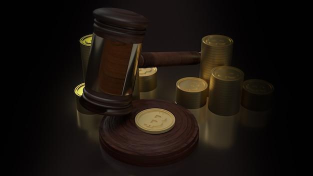 A madeira do martelo e o bitcoin para renderização em 3d do conteúdo da lei da criptomoeda