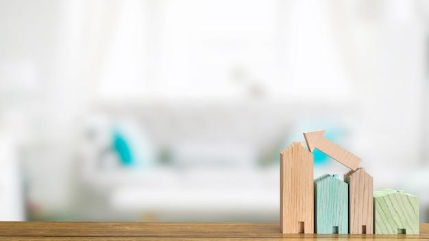 A madeira em casa na mesa para renderização em 3d de conceito de negócio de propriedade