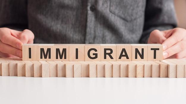 A mão coloca um cubo de madeira com as letras i e t da palavra imigrante. a palavra está escrita em cubos de madeira sobre a superfície branca da mesa.