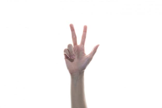 A mão da mulher fez três dedos como um símbolo da mão de alemanha isolado no fundo branco.