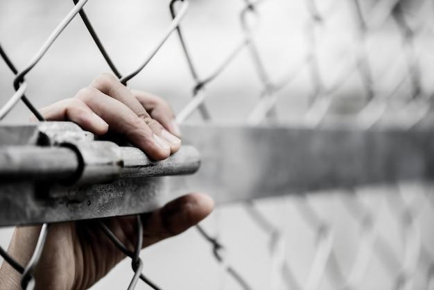 A mão da mulher que guarda sobre a cerca do elo de corrente para recorda o conceito do dia dos direitos humanos.