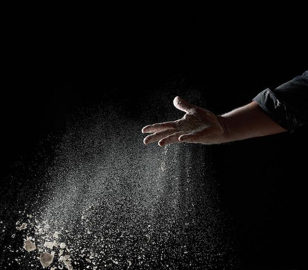 A mão de baker joga um punhado de farinha de trigo branca em um fundo preto, as partículas voam em direções diferentes